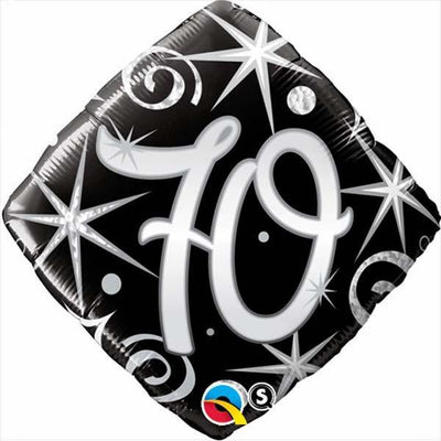 FOIL BALLOON 45CM - 70TH BIRTHDAY ELEGANT SPARKLES & SWIRLS