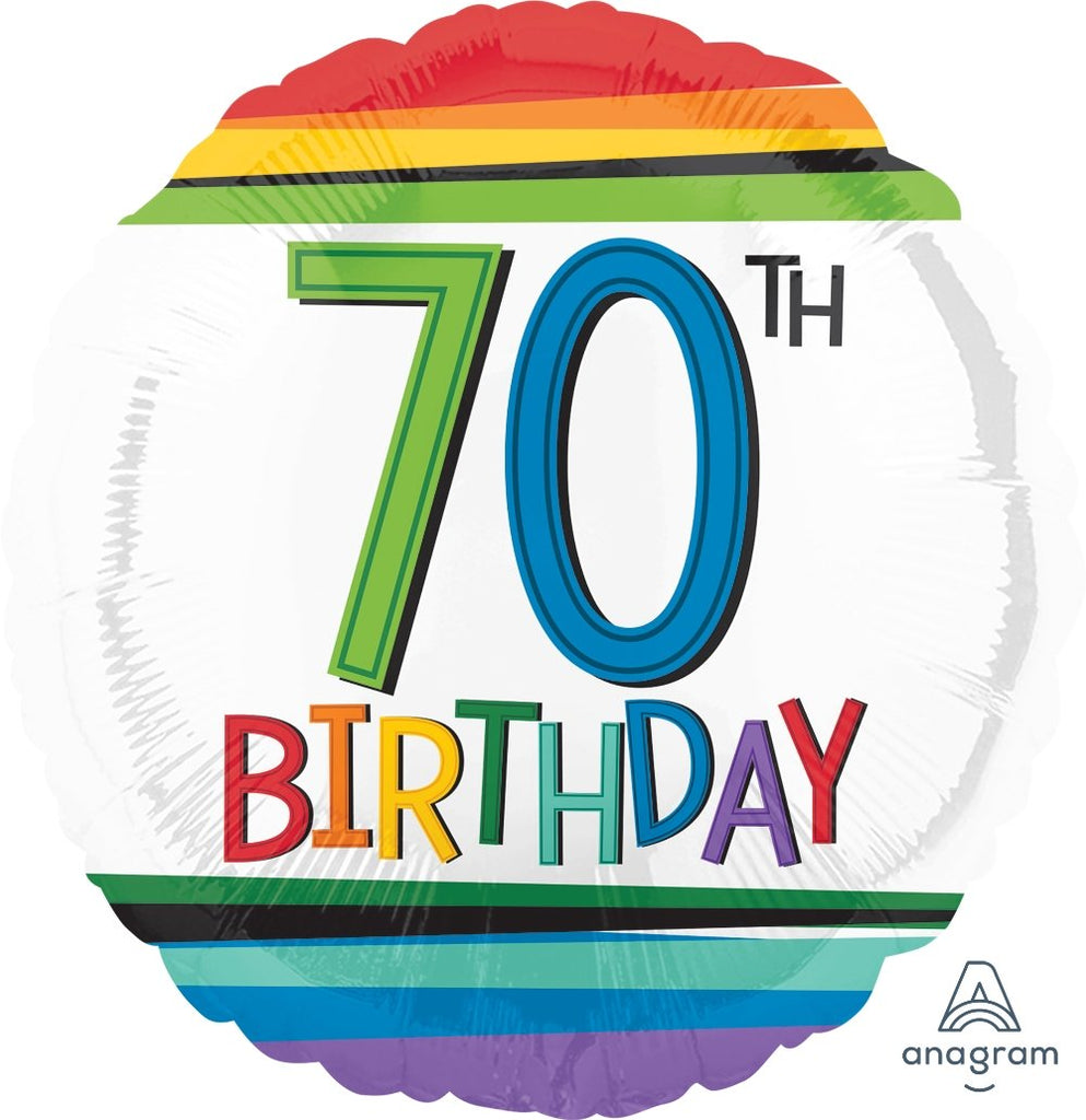 FOIL BALLOON 45CM - 70TH BIRTHDAY RAINBOW
