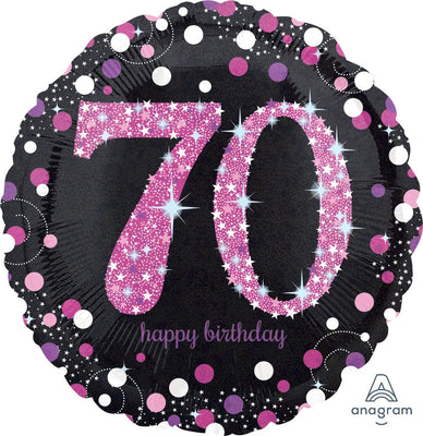 FOIL BALLOON 45CM - 70TH BIRTHDAY SPARKLING PINK