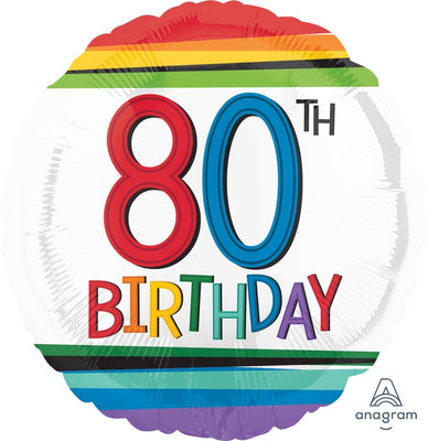FOIL BALLOON 45CM - 80TH BIRTHDAY RAINBOW