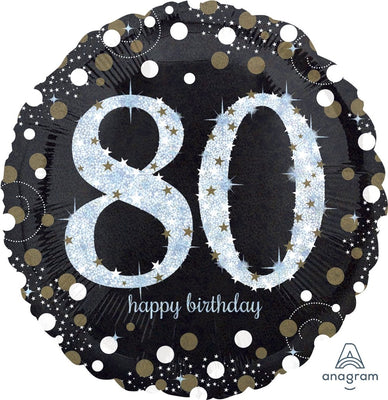 FOIL BALLOON 45CM - 80TH BIRTHDAY SPARKLING