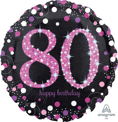 FOIL BALLOON 45CM - 80TH BIRTHDAY SPARKLING PINK