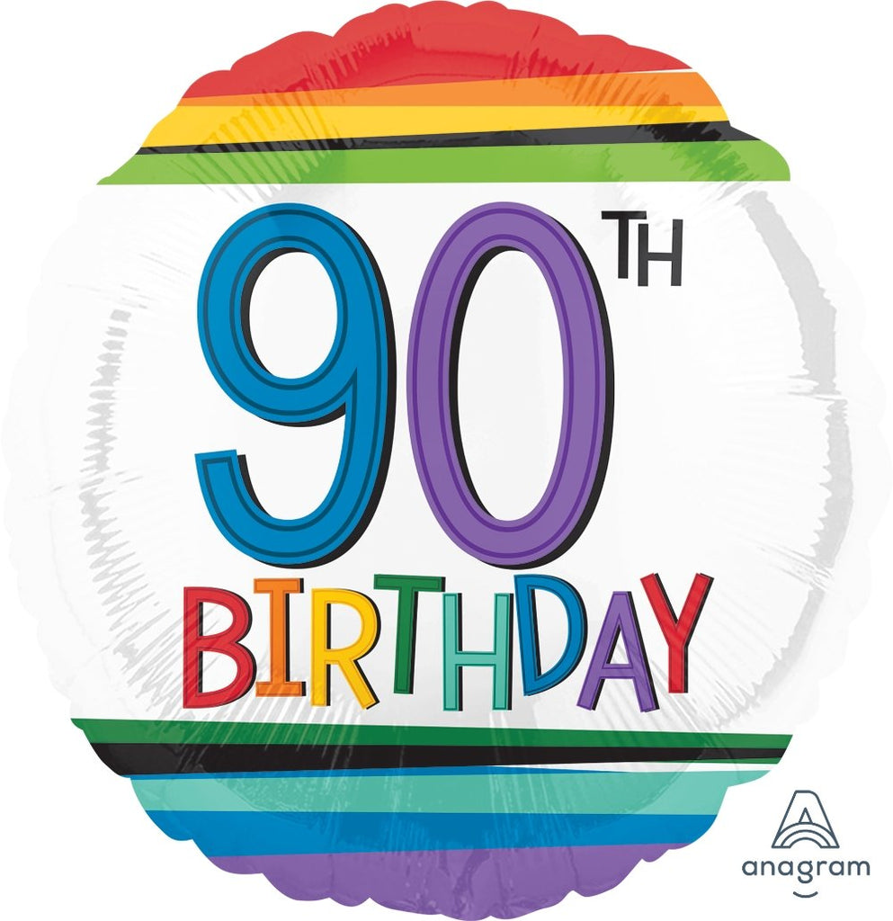 FOIL BALLOON 45CM - 90TH BIRTHDAY RAINBOW