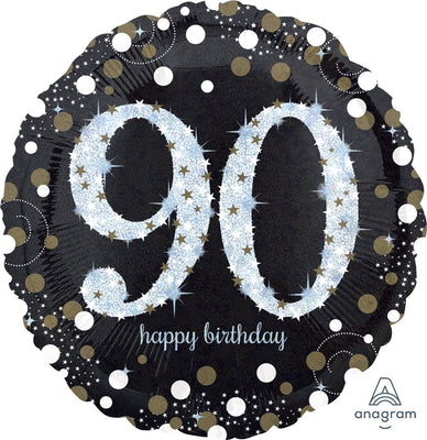 FOIL BALLOON 45CM - 90TH BIRTHDAY SPARKLING