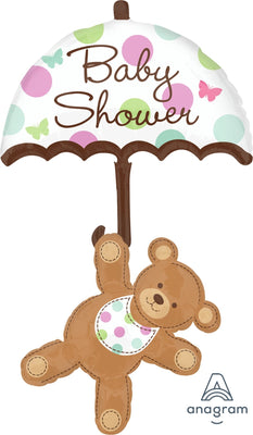 FOIL BALLOON 45CM - BABY SHOWER UMBRELLA & BEAR 124X61CM