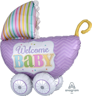 FOIL BALLOON 45CM - BABY SHOWER WELCOME BABY CARIGE