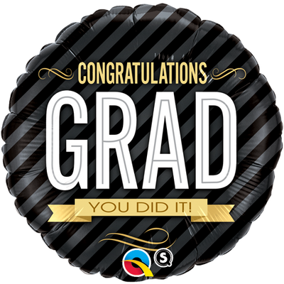 FOIL BALLOON 45CM - GRADUATION CONGRATULATONS GRAD STRIPES