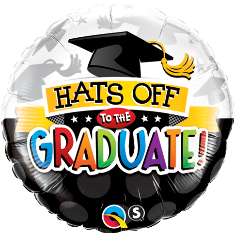 FOIL BALLOON 45CM - GRADUATION HATS OFF TO THE GRADUATE