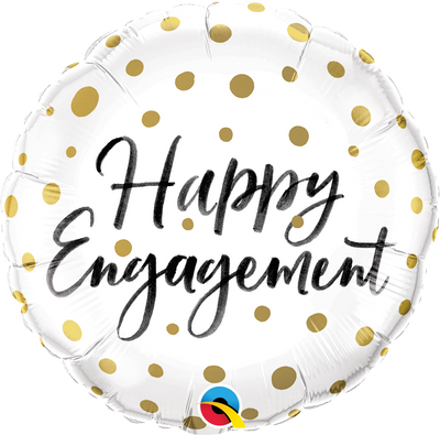 FOIL BALLOON 45CM - HAPPY ENGAGEMENT GOLD DOTS