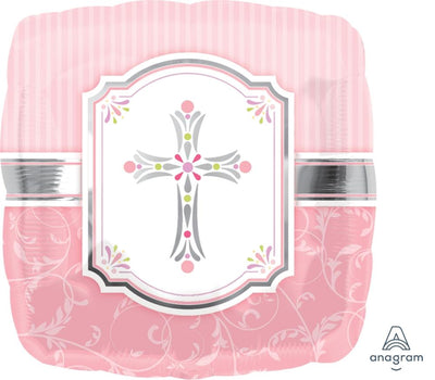 FOIL BALLOON 45CM - SQUARE FOIL PINK CROSS BAPTISM