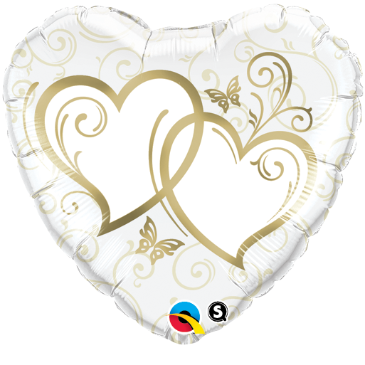 FOIL BALLOON 45CM - WEDDING ENTWINED HEARTS GOLD
