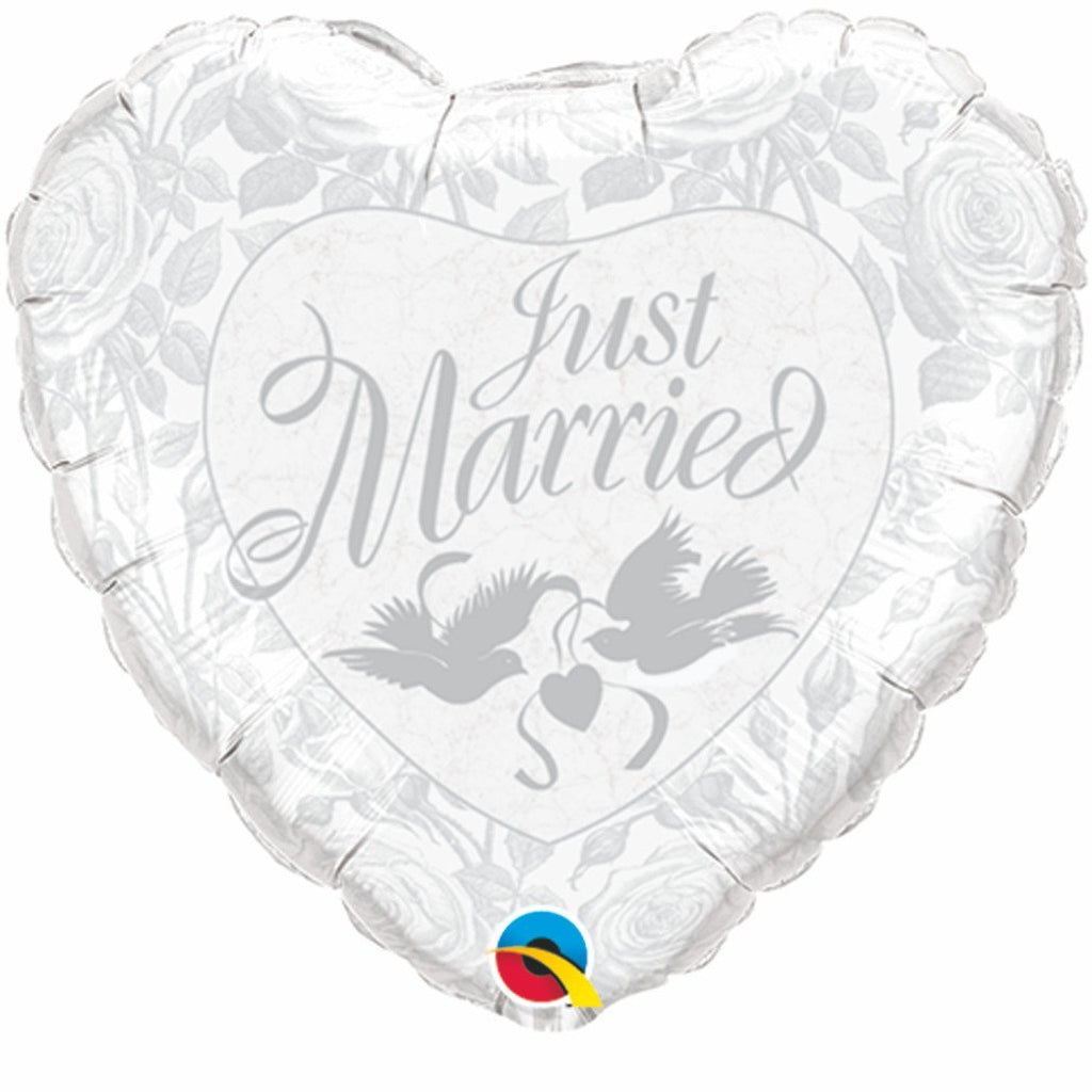 FOIL BALLOON 45CM - WEDDING JUST MARRIED PEARL WHITE