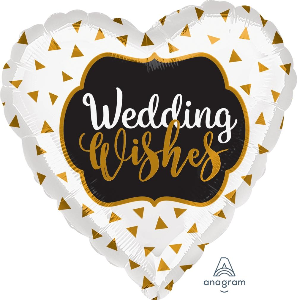 FOIL BALLOON 45CM - WEDDING WISHES GOLD