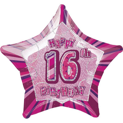 FOIL BALLOON 50CM - 16TH GLITZ BIRTHDAY PINK