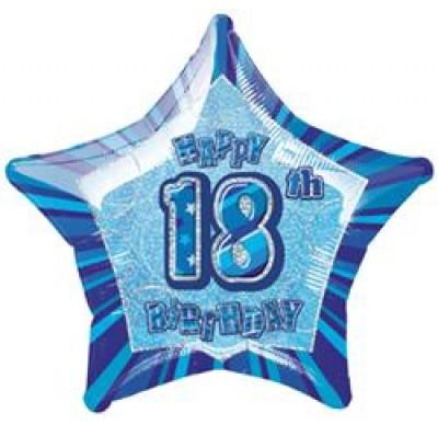 FOIL BALLOON 50CM - 18TH BIRTHDAY GLITZ BLUE