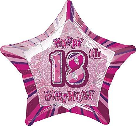 FOIL BALLOON 50CM - 18TH BIRTHDAY GLITZ PINK
