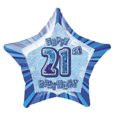 FOIL BALLOON 50CM - 21ST BIRTHDAY GLITZ BLUE