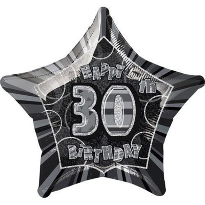 FOIL BALLOON 50CM - 30TH BIRTHDAY GLITZ BLACK
