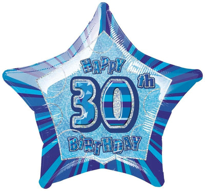 FOIL BALLOON 50CM - 30TH BIRTHDAY GLITZ BLUE