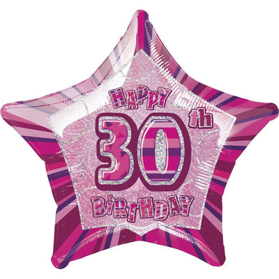 FOIL BALLOON 50CM - 30TH BIRTHDAY GLITZ PINK
