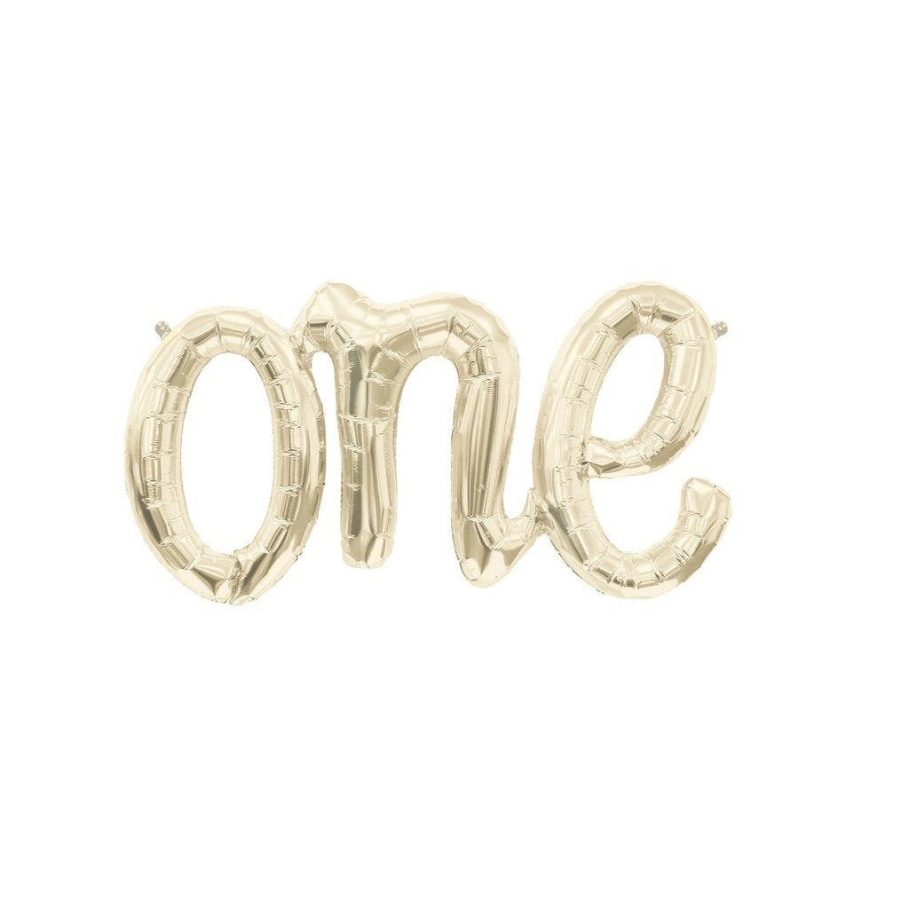 FOIL BALLOON 76CM - LETTER ONE WHITE GOLD