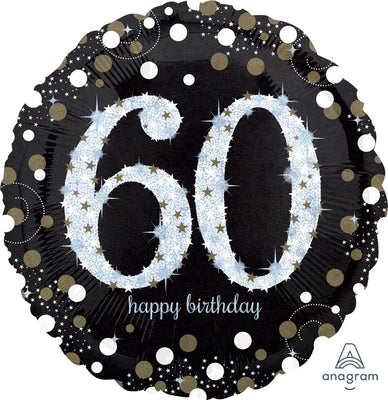 FOIL BALLOON 91CM - 60TH SPARKLING BIRTHDAY JUMBO