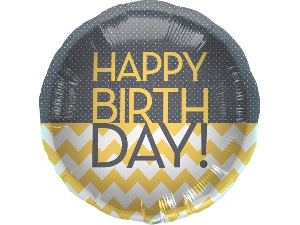 FOIL BALLOON HAPPY BIRTHDAY 45CM - BIRTHDAY CHEVRON DOTS