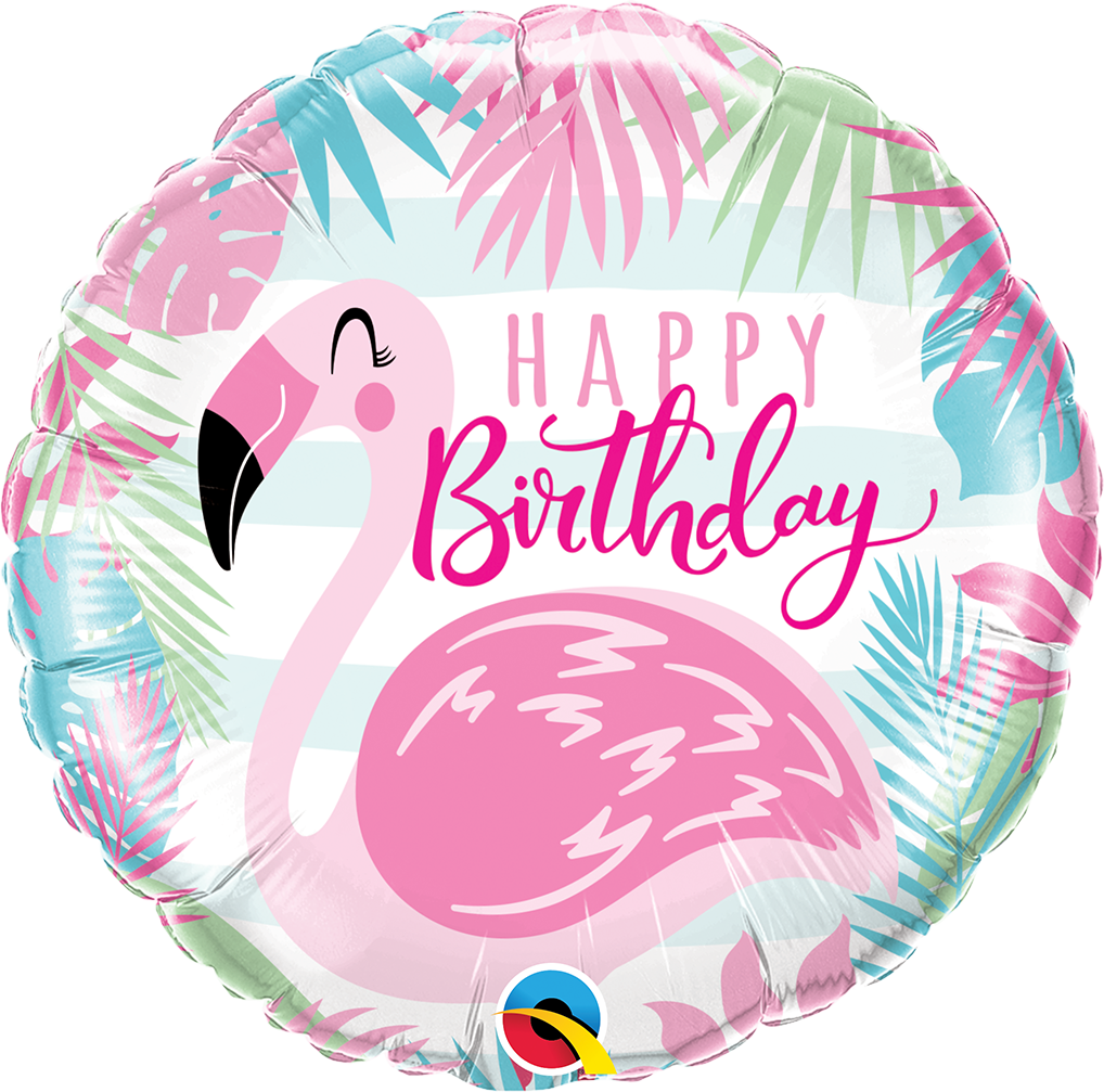 FOIL BALLOON HAPPY BIRTHDAY 45CM - BIRTHDAY FLAMINGO