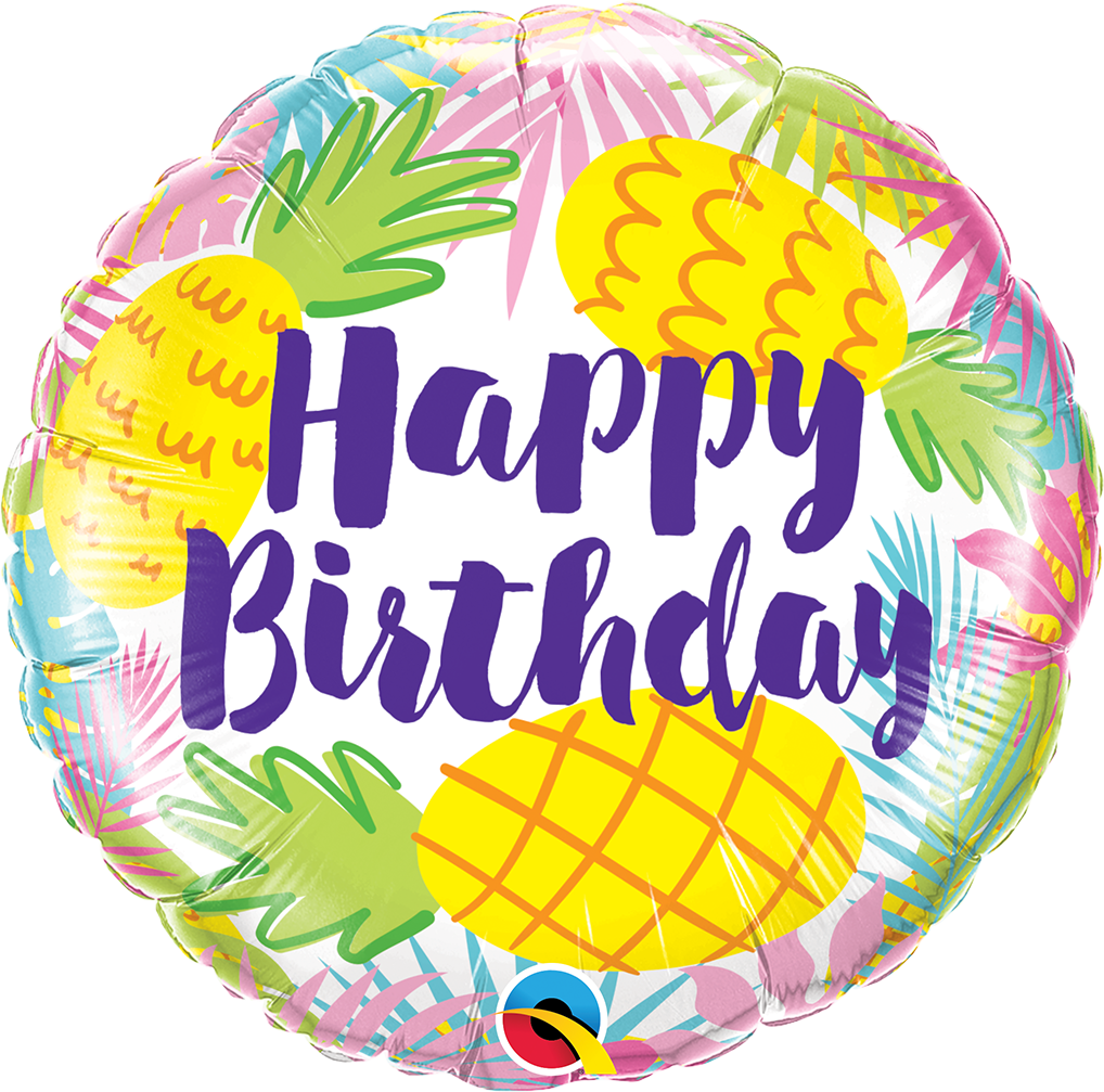 FOIL BALLOON HAPPY BIRTHDAY 45CM - BIRTHDAY PINEAPPLE