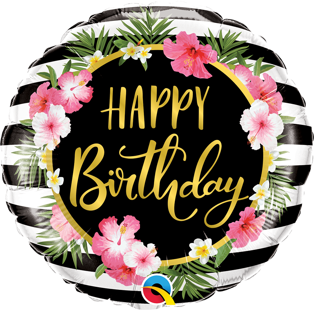 FOIL BALLOON HAPPY BIRTHDAY 45CM - HIBISCUS STRIPES