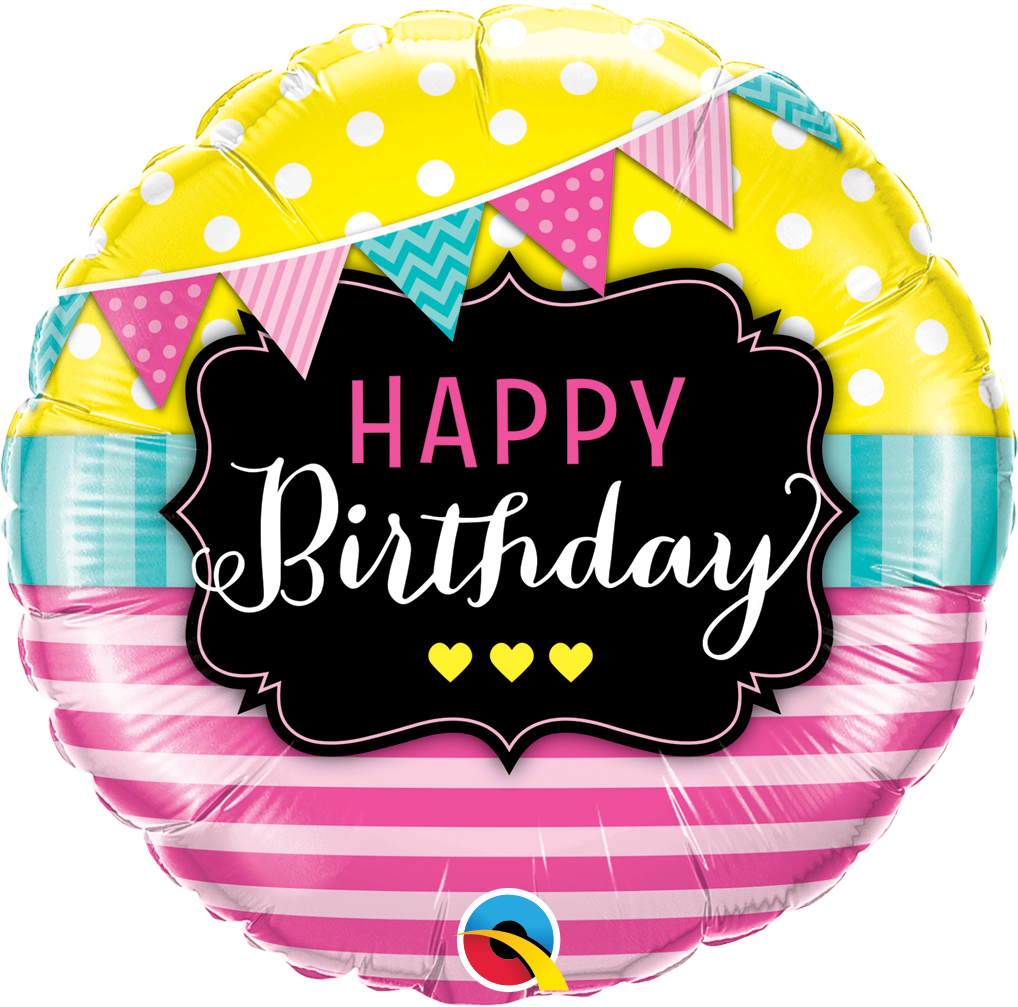FOIL BALLOON HAPPY BIRTHDAY 45CM - PENNANTS & PINK STRIPES