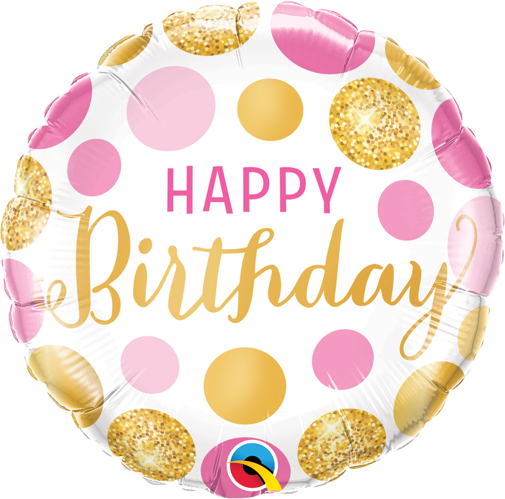 FOIL BALLOON HAPPY BIRTHDAY 45CM - PINK & GOLD DOTS