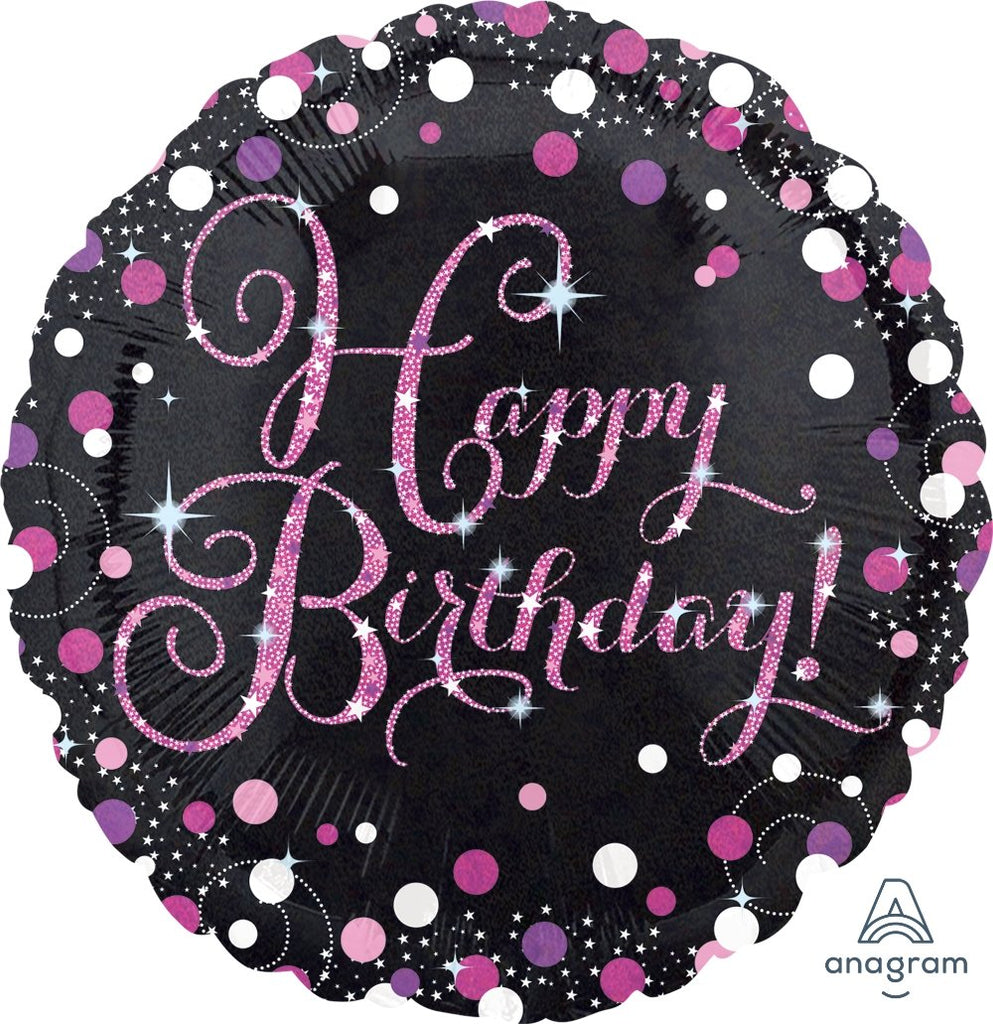 FOIL BALLOON HAPPY BIRTHDAY 45CM - SPARKLING HAPPY BIRTHDAY PINK