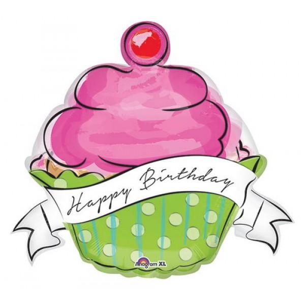 FOIL BALLOON HAPPY BIRTHDAY 73CM - HAPPY BIRTHDAY SWEETS CUPCAKE