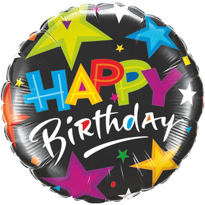 FOIL BALLOON HAPPY BIRTHDAY 89CM - BIRTHDAY BRILLIANT STARS BLACK