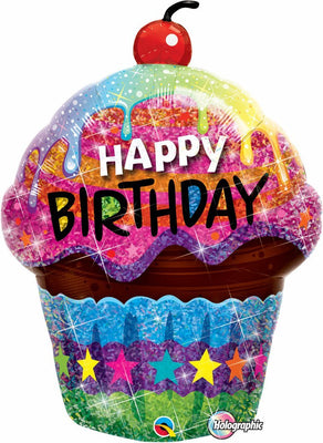 FOIL BALLOON HAPPY BIRTHDAY 89CM - BIRTHDAY DAZZLING CUPCAKE