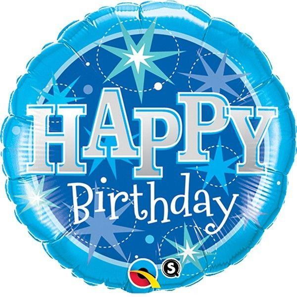 FOIL BALLOON HAPPY BIRTHDAY 89CM - HAPPY BIRTHDAY BLUE SPARKLE