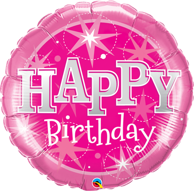FOIL BALLOON HAPPY BIRTHDAY 89CM - HAPPY BIRTHDAY PINK SPARKLE