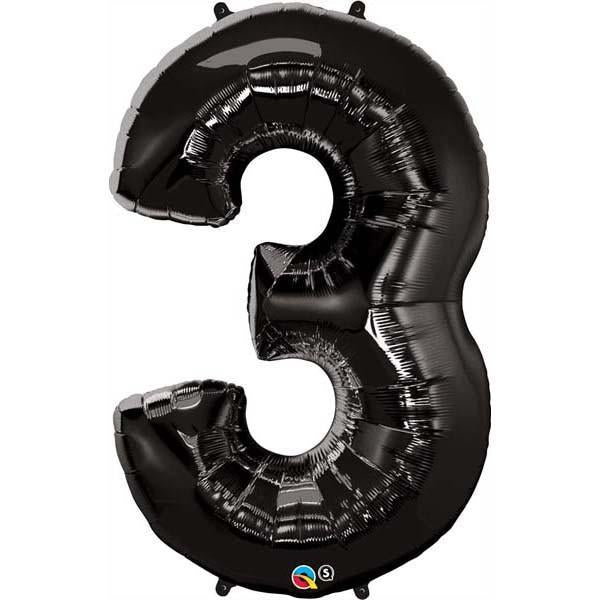 FOIL BALLOON MEGALOON 86CM -BLACK NUMBER 3