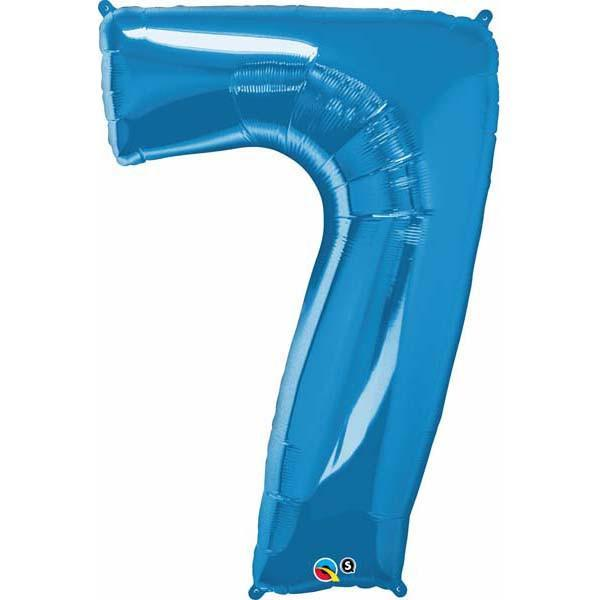 FOIL BALLOON MEGALOON 86CM -BLUE NUMBER 7
