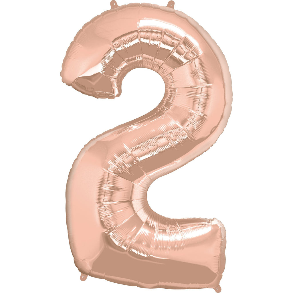 FOIL BALLOON MEGALOON 86CM -ROSE GOLD NUMBER 2
