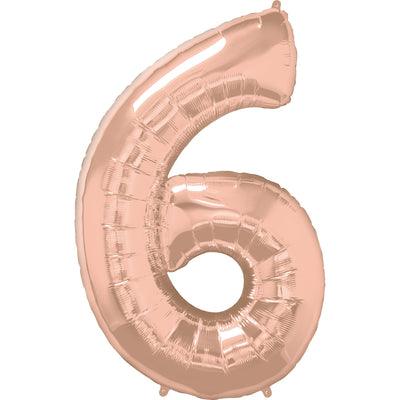 FOIL BALLOON MEGALOON 86CM -ROSE GOLD NUMBER 6