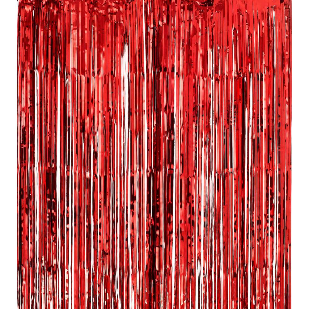FOIL CURTAIN - METALLIC RED 2MX90CM