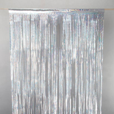 FOIL CURTAIN - METALLIC SILVER HOLOGRAPHIC 2MX90CM