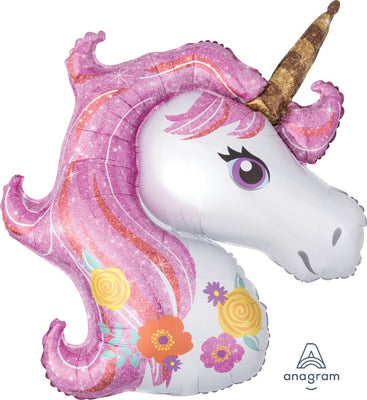 FOIL SUPERSHAPE BALLOON - FOIL SHAPE MAGICAL UNICORN 83X73CM