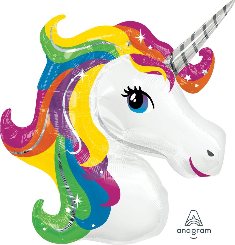 FOIL SUPERSHAPE BALLOON - UNICORN HEAD RAINBOW 83X73CM