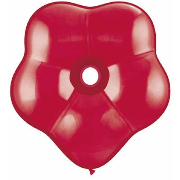 GEO BLOSSOM LATEX BALLOON 15CM - RUBY RED