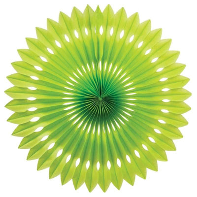 HANGING PAPER FANS 24CM LIME GREEN