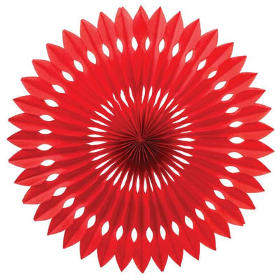 HANGING PAPER FANS 24CM RED