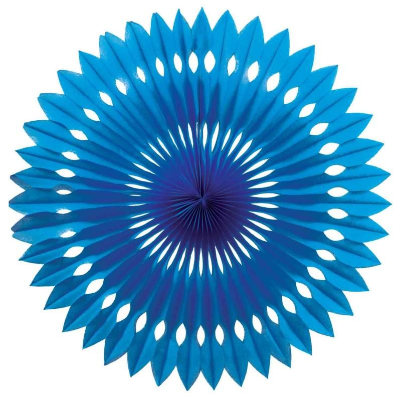 HANGING PAPER FANS 24CM TRUE BLUE